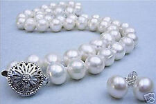 "10-11MM White Akoya Cultured Pearl necklace earrings set 18""AAA"