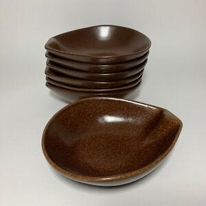 Set of 7 Roseville Pottery Raymor #155 Lug Soup Bowls in Brown MCM Vtg