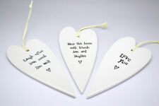 East of India 2035 White Porcelain Hanging Heart Bless This House - BRAND N
