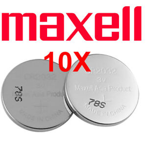 10 X Maxell CR 2032 Lithium Coin Cell Button 3V Battery Batteries free postage