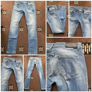 "religion we live in black hero jeans ripped effect blue w 32 inside leg 31"" (48)"