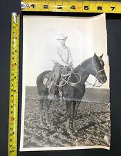 Vintage Photograph Photo Horse Western Cowboy Man Hat Owner Ranch Farm Read