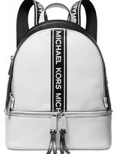New Michael Kors Rhea Zip Backpack Logo front stripe Bag black white leather