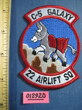 Usaf Air Force Patch squadron C-5 Galaxy 22nd Airlift Sqdn 1991-now