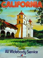 1960s California Mission United States of America Travel Advertisement Poster