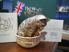 Harmony Kingdom Churchill Uk Made Marble Resin Cat in Bowl Box Figurine