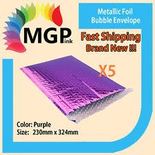 5 x Purple Metallic Foil Bubble Wrap Bags Mailing Padded Envelops 230x324mm