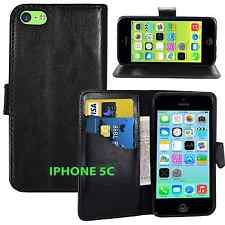 BLACK Wallets stand Case Cover with Card Slots & clip for iPhone 5C UK free post