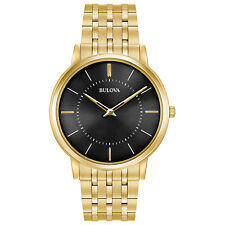 Bulova Classic Men's Quartz Black Dial Gold Tone Bracelet 40mm Watch 97A127