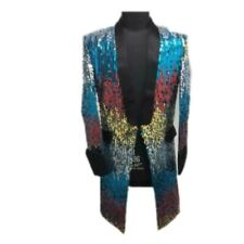 Mens Sequin Colorful Bling Suit Tuxedo Blazer Bar Show Coat Jacket Dress Party