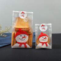 50Pcs Christmas Storage Bag Snowman Cellophane Cookie Fudge Candy Gift Organizer