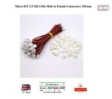 10 Paires Micro JST 2.5 XH 2-Pin 120 mm Mâle & Femelle Connecteurs Plugs wires cables