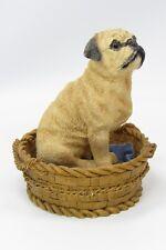 Pug Puppy Dog In Basket Resin Figurine