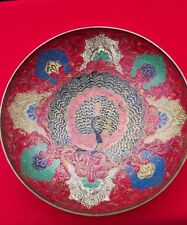ANTIQUE Vintage BRASS BOWL Chinese PEACOCK Painted RED ART Made in INDIA