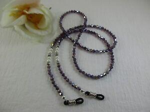 "Purple Amethyst & Pearl Czech Crystal 27"" Beaded Eyeglass Chain~Holder USA"
