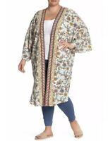 NWT Bobeau Womens Floral Kimono Long Cover Blouse Top Plus Size 2X