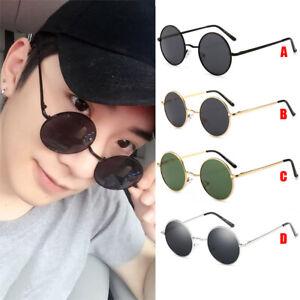 Metal Circle Frame Round Sunglasses Men Women's Vintage Retro Mirror Glasses