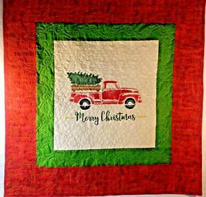 "Quilt Red Truck Merry Christmas Hand Painted on Duck Cloth  39""x40"""