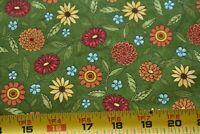 """19"""" Long, Colorful Floral on Green Quilt Fabric, Moda/Deb Strain/Japan, N4928"""