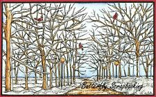 WINTER TREES LAMP POST SCENE Wood Mounted Rubber Stamp NORTHWOODS NN10166 New