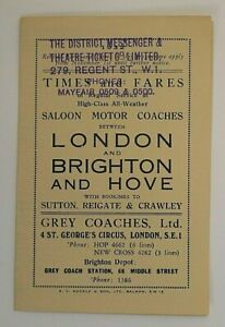 GREY COACHES 1932 ~ LONDON TO BRIGHTON EXPRESS SERVICES T/T LEAFLET
