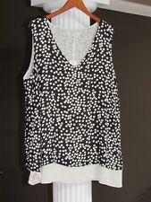 ROSE & OLIVE Black Cream Poka Dot Sleeveless Lined Blouse Top Size 1X NWT