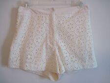 FOREVER 21 Sz S Ivory Creme Floral EYELET Dress Shorts LINED