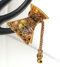 Gold Rainbow Crystal Bollywood Ornate Bridal Ethnic Hairclip Crocodile Clip Grip