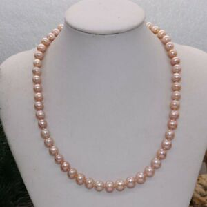 Natural Rare pink lavnder 8mm round freshwater pearl Necklace S925 J25506