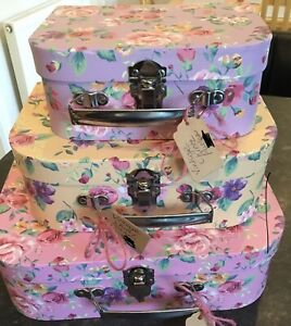 Chintz Vintage Floral Style Pattern Storage Suitcase Box Set Of 3