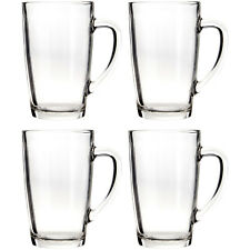 Set Of 4 400ml Clear Glass Mugs Hot Tea Coffee Cappuccino Latte Drinks Cups New