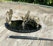 Antique Vintage Beautiful Spelter Metal Bull Fighter and Bull Pen Holder *