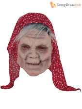 Old Lady Grey Hair Mask Latex Wig Halloween Fancy Dress