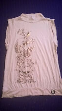 River Island peach & gold metallic skull & rose print top size 14