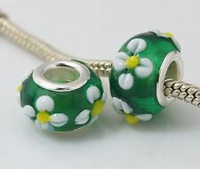 QUANTITY 5 3D GREEN FLOWER LAMPWORK BEADS FOR EUROPEAN CHARM BRACELETS-US SELLER