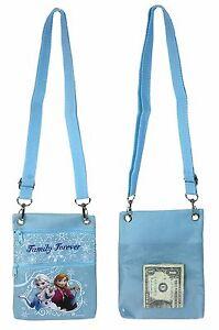 "Disney Frozen Blue Elsa Anna Wallet Camera Pouch Bag Purse Shoulder Strap 7.5"""
