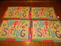 L-21 FOUR COLORFUL BLOSSOMS & BLOOMS 'HAPPY SPRING' COTTON PLACEMATS