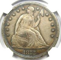 1872 Seated Liberty Silver Dollar $1 - Certified NGC XF Detail (EF) - Rare Coin!
