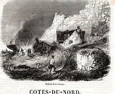 22 COTES D ARMOR RADOUB D UNE BARQUE IMAGE 1855 PRINT