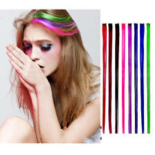 """New 15"""" Colored Colorful Clip On In Hair Extension Fake Custom white AB"""