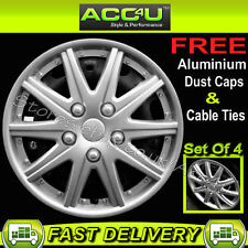 "13"" Silver Multi Spoke Car Wheel Trims Hub Caps Covers Set+Free Cable Ties+Caps"