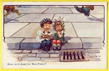 "cpa Humor British signée GILSON ENFANTS Trottoir ""How is it done in War Time ?"""