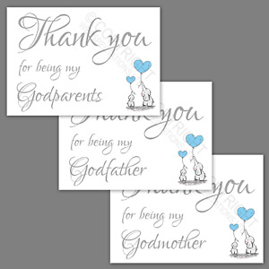 Thank You for Being My Godparents Godmother Godfather A6 Card Godson Boys Blue
