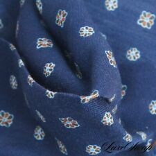 LNWOT Roda Made in Italy Silk Wool Navy Small Floret Medallion Pocket Square #14