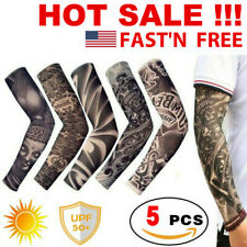 5pcs Tattoo Cooling Arm Sleeves Men Basketball Running Uv Sun Protection Outdoor