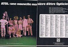 PUBLICITE ADVERTISING 114 1974 ATOL le nouvel opticien (2 pages)