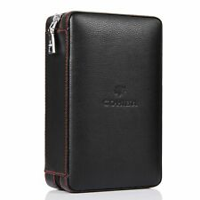 Cohiba Black Leather Cedar Cigar Case Cigar Humidor 4 Count Protable Travel