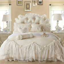 6 pcs Bedding Set Luxury Jacquard Ruffle Cotton Duvet Cover Bed skirt Pillowcase