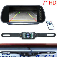 "7"" LCD Car Rear View Backup Mirror Monitor+Wire Reverse IR Camera System Kit"
