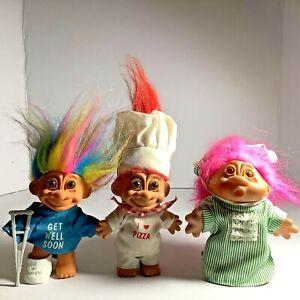 """Vintage Russ 5"""" I Love Pizza Chef Troll Dolls lot 3PCS"""